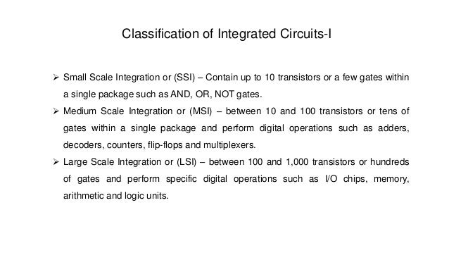 Integrated Circuit Classification Classification of Integrated
