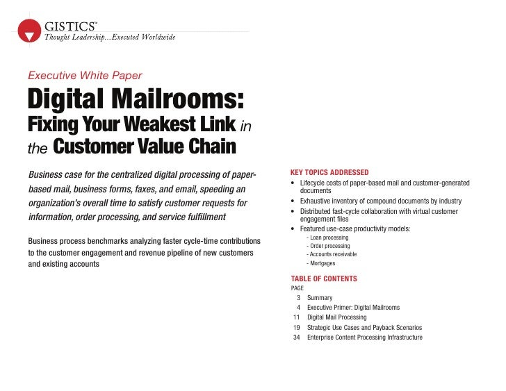 Digital Mailrooms: Fixing Your Weakest Link in the Customer Value Chain