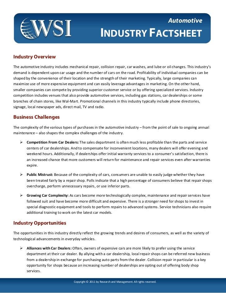 Automotive                                                         INDUSTRY FACTSHEETIndustry OverviewThe automotive indus...