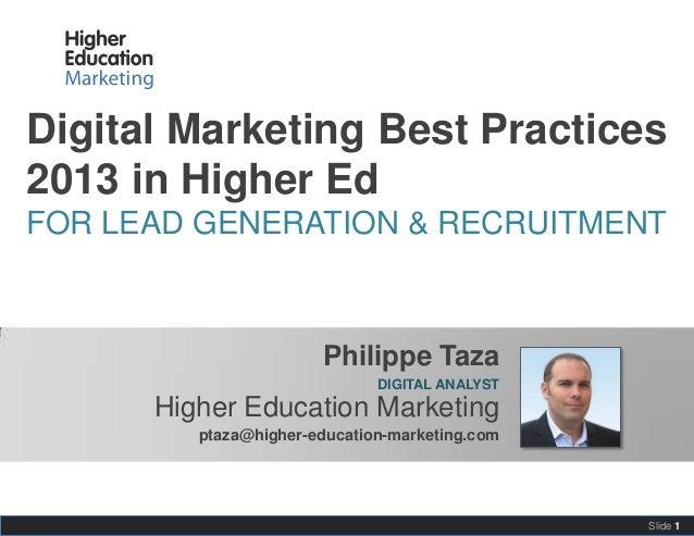 Digital marketing best practices 2013 in higher ed