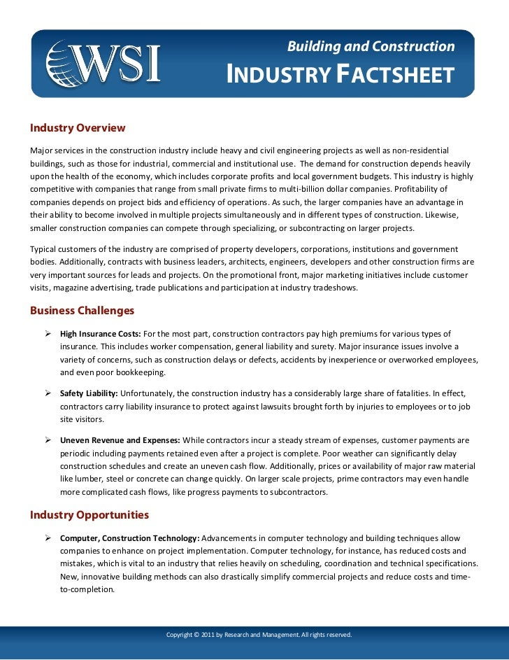 Digital Marketing - Building and Construction Fact Sheet by WSI Online