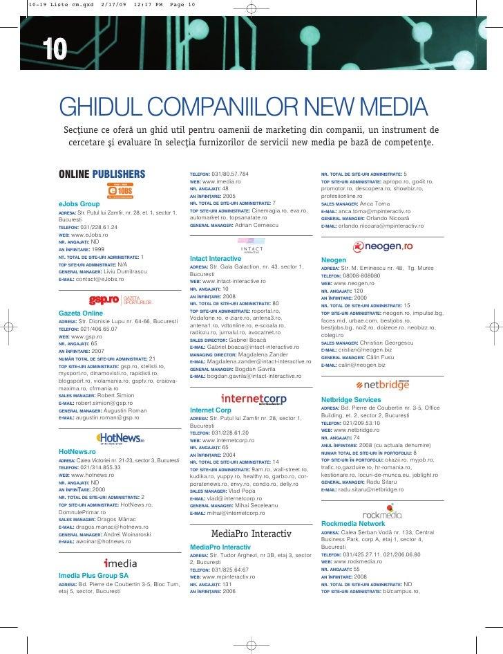 10-19 Liste cm.qxd           2/17/09        12:17 PM         Page 10        10         GHIDUL COMPANIILOR NEW MEDIA       ...