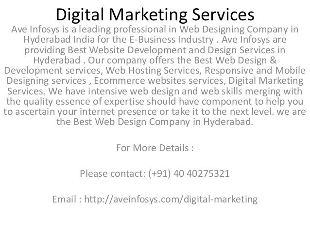 Digital Marketing Services Ave Infosys is a leading professional in Web Designing Company in Hyderabad India for the E-Bus...