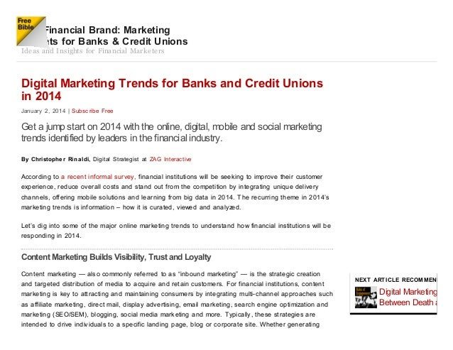 Digital marketing Trends For Banks in 2014