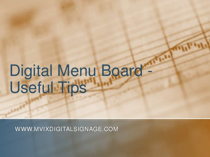 Digital Menu Board - Useful Tips