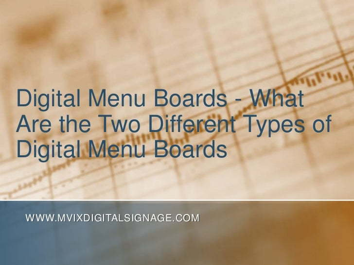 Digital Menu Boards - What Are the Two Different Types of Digital Menu Boards<br />www.MVIXDigitalSignage.com<br />