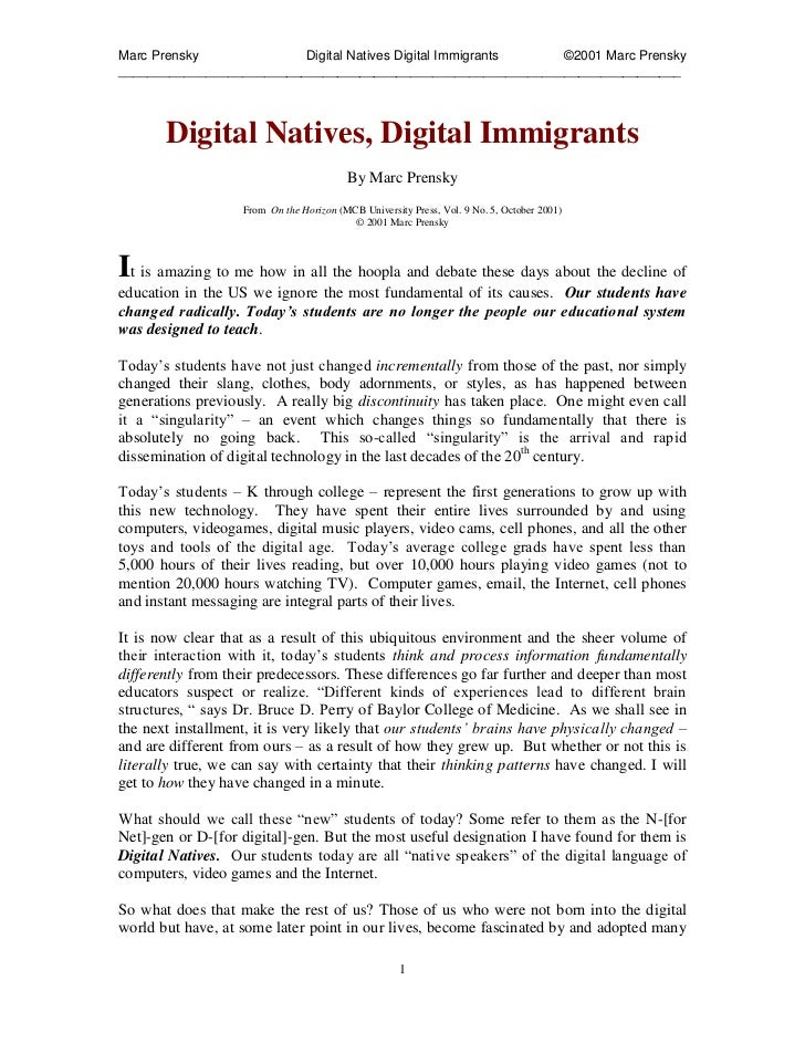 Marc Prensky              Digital Natives Digital Immigrants ©2001 Marc Prensky___________________________________________...