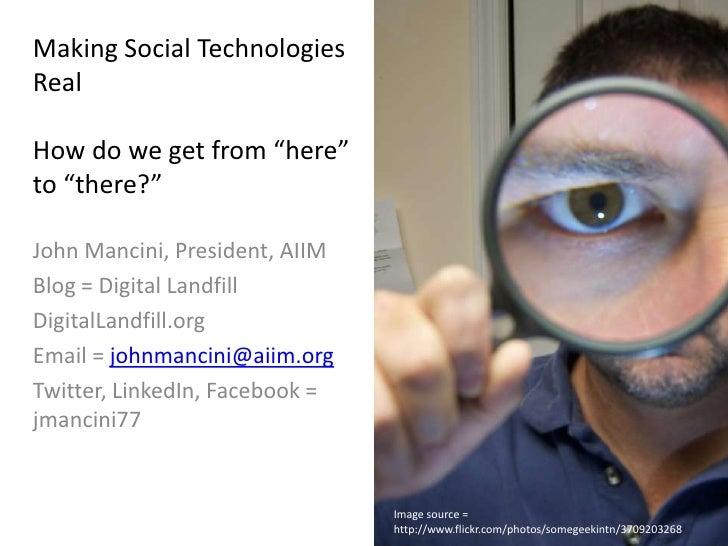 Digital Now workshop - Making Social Real