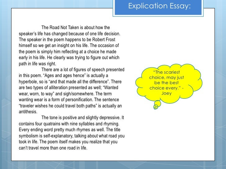 analysis essay the road not taken Essays from bookrags provide great ideas for the road not taken essays and paper topics like essay view this student essay about the road not taken.