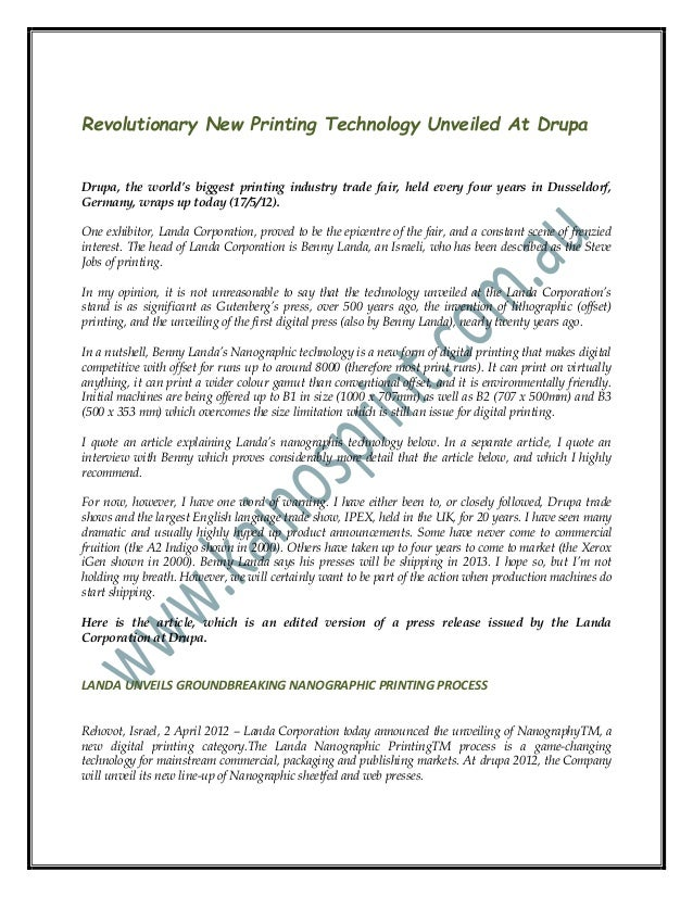 Revolutionary New Printing Technology Unveiled At DrupaDrupa, the world's biggest printing industry trade fair, held every...