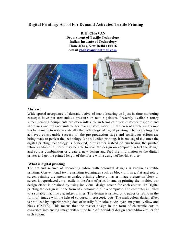 Digital Printing: ATool For Demand Activated Textile Printing                                    R. B. CHAVAN             ...