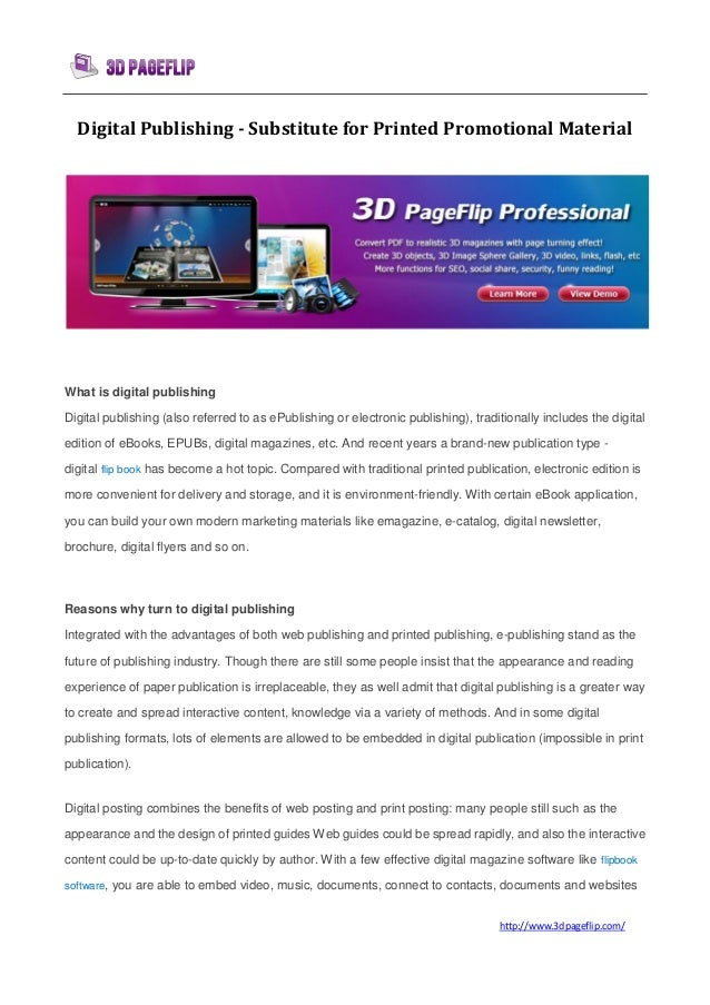 Digital publishing - substitute for printed promotional material | 3DPageFlip