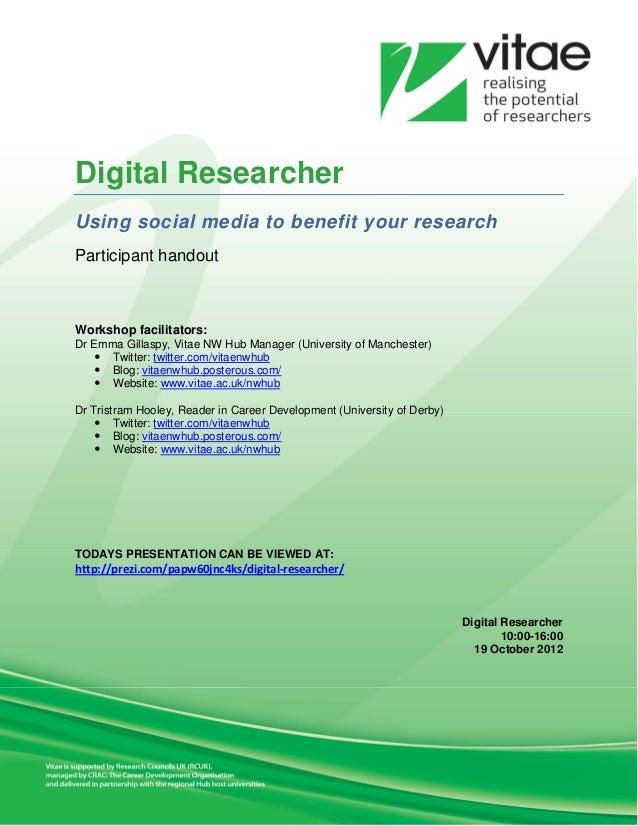 Digital researcher handout 19 10-2012