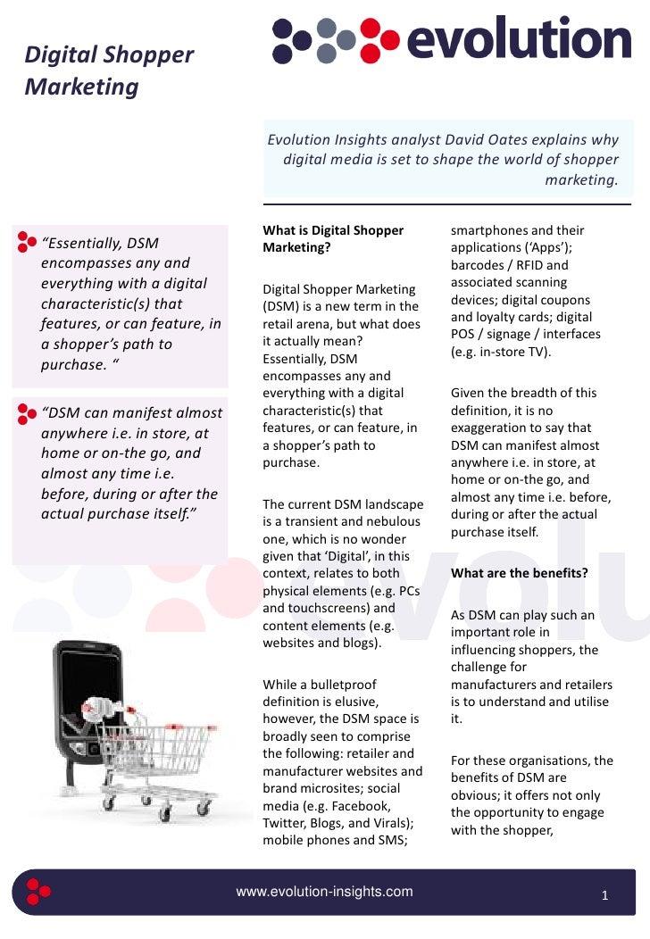 Digital Shopper Marketing                                     Evolution Insights analyst David Oates explains why         ...