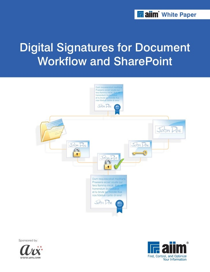 Digital signatures for document workflow and share point