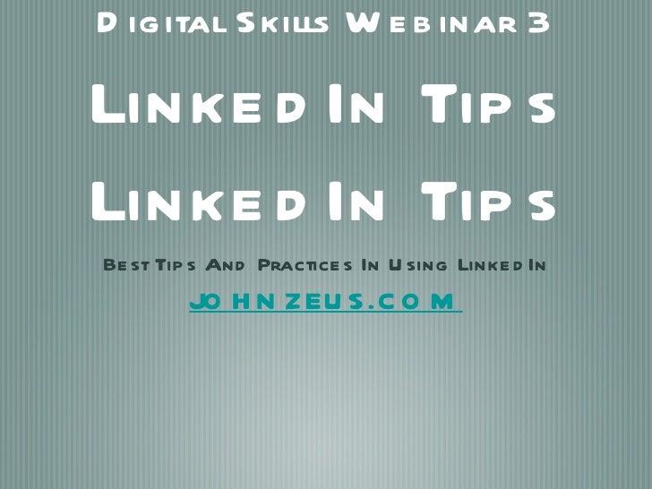 Digital skills webinar LINKEDIN tips