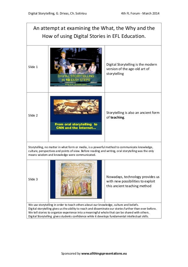 Digital Storytelling, G. Drivas, Ch. Sotiriou  4th FL Forum - March 2014  An attempt at examining the What, the Why and th...
