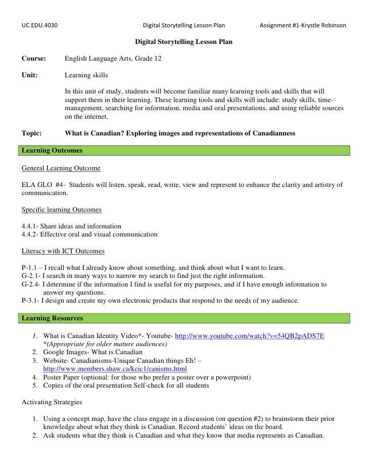 UC.EDU.4030                               Digital Storytelling Lesson Plan         Assignment #1-Krystle Robinson         ...