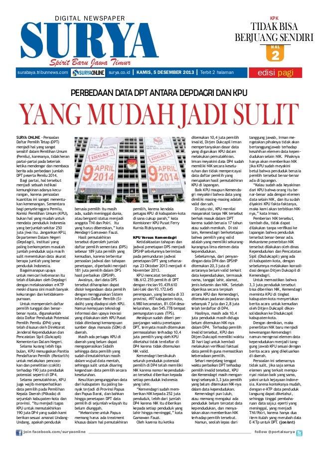 DIGITAL NE WS PA PER  KPK  TIDAK BISA BERJUANG SENDIRI hal  Spirit Baru Jawa Timur surabaya.tribunnews.com  surya.co.id  2...