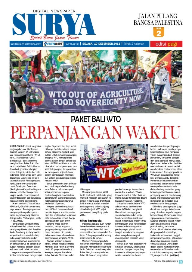 DIGITAL NE WS PA PER  JALAN PULANG BANGSA PALESTINA hal  Spirit Baru Jawa Timur surabaya.tribunnews.com  surya.co.id  2  |...