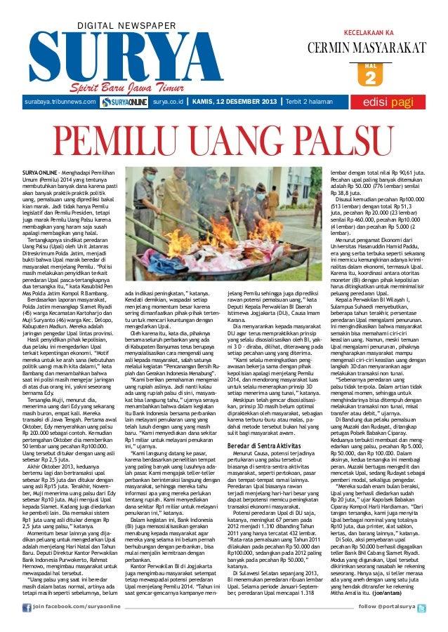 DIGITAL NE WS PA PER  KECELAKAAN KA  CERMIN MASYARAKAT hal  Spirit Baru Jawa Timur surabaya.tribunnews.com  surya.co.id  2...