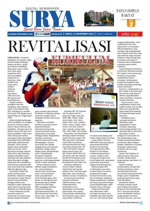 DIGITAL NE WS PA PER  papan impian rakyat hal  Spirit Baru Jawa Timur surabaya.tribunnews.com  surya.co.id  2   SABTU, 14 ...