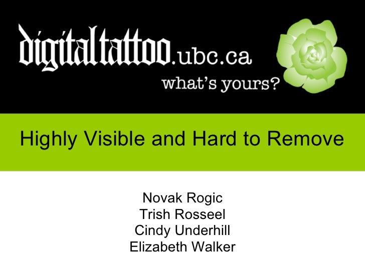 Highly Visible and Hard to Remove                Novak Rogic              Trish Rosseel              Cindy Underhill      ...