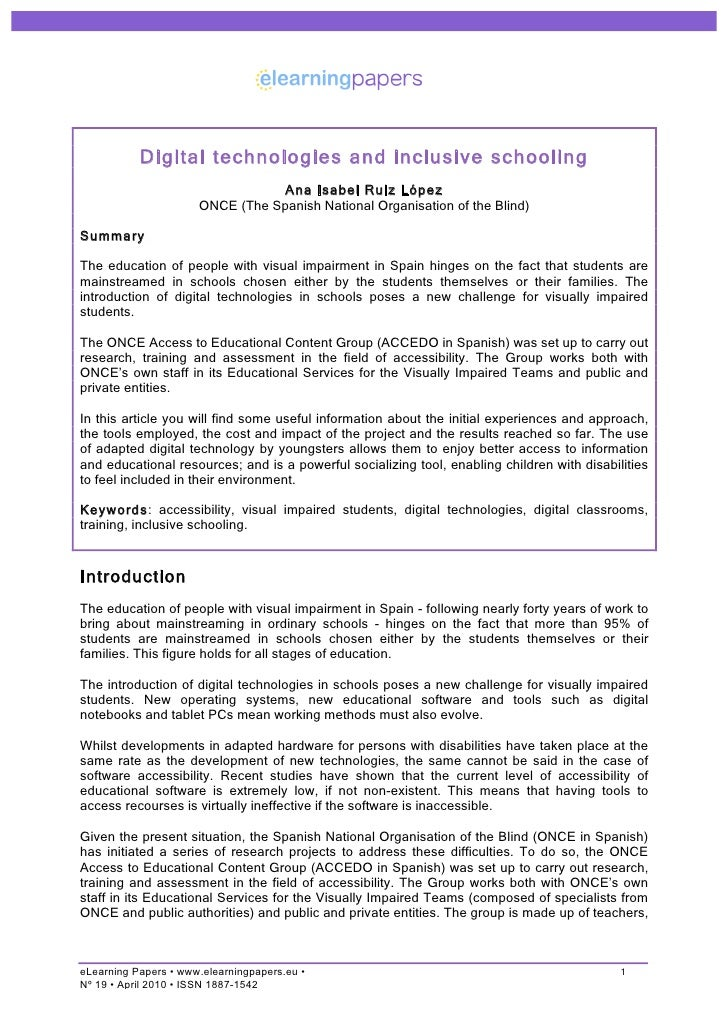 Digital technologies and inclusive schooling