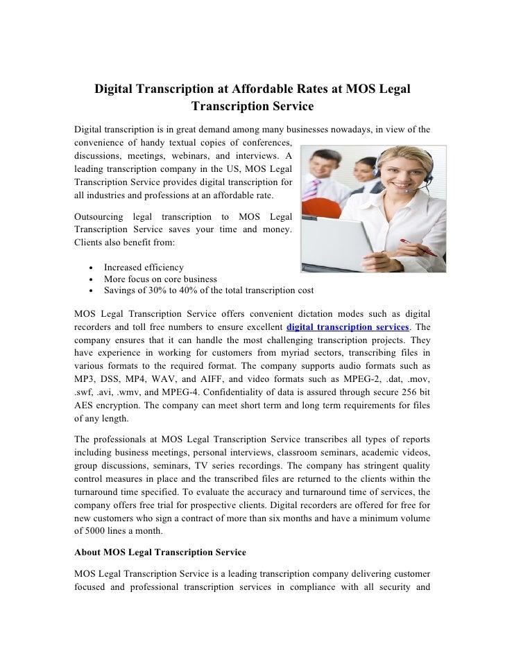 Digital transcription at affordable rates at mos legal transcription service