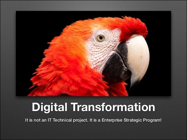 Digital Transformation It is not an IT Technical project. It is a Enterprise Strategic Program!
