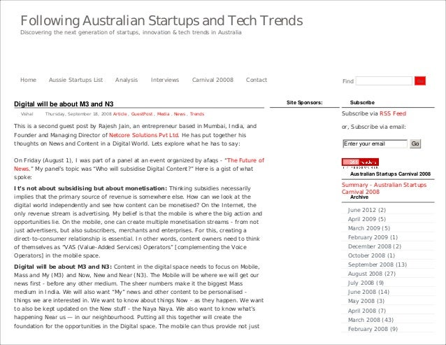 Following Australian Startups and Tech Trends  Discovering the next generation of startups, innovation & tech trends in Au...