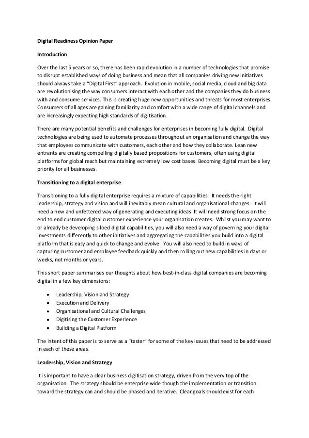 Digital Readiness Opinion Paper Introduction Over the last 5 years or so, there has been rapid evolution in a number of te...