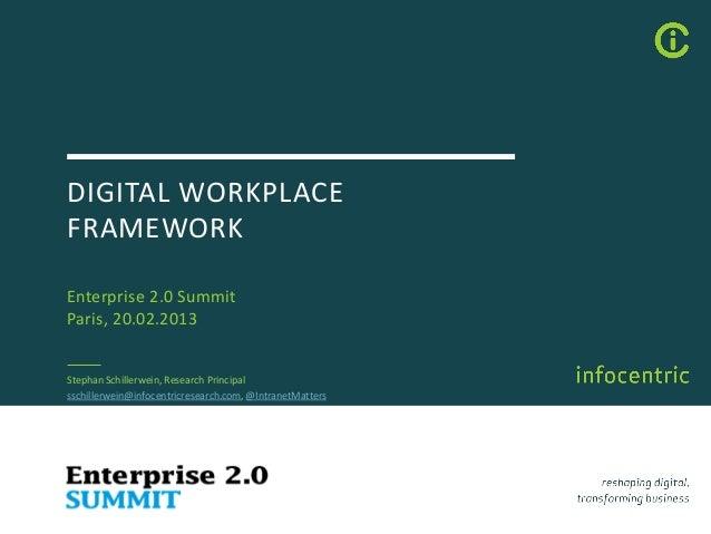 DIGITAL WORKPLACEFRAMEWORKEnterprise 2.0 SummitParis, 20.02.2013Stephan Schillerwein, Research Principalsschillerwein@info...