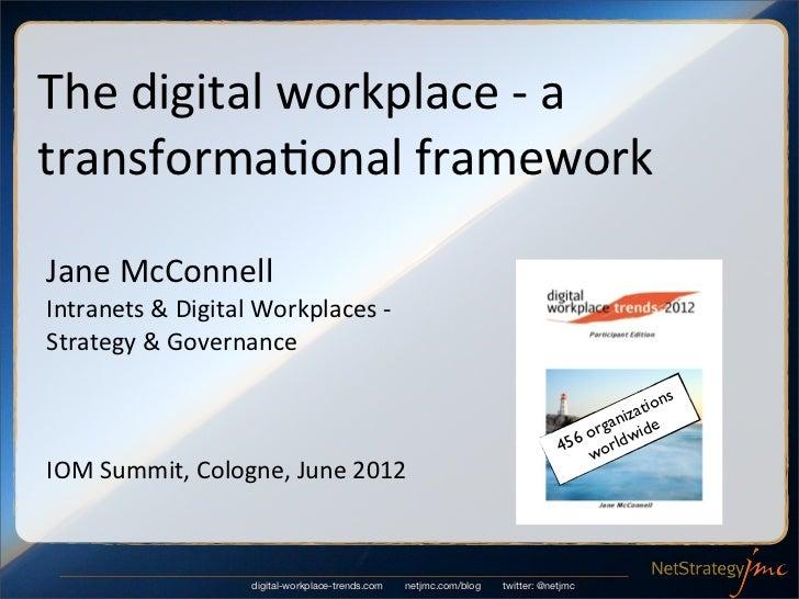 The digital workplace -‐ a transforma6onal frameworkJane McConnellIntranets & Digital Workplaces -...