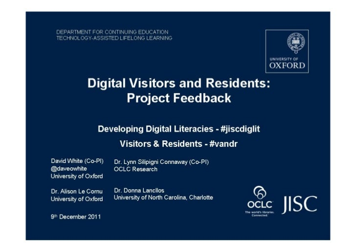 Digital visitors and Residents: Project Update