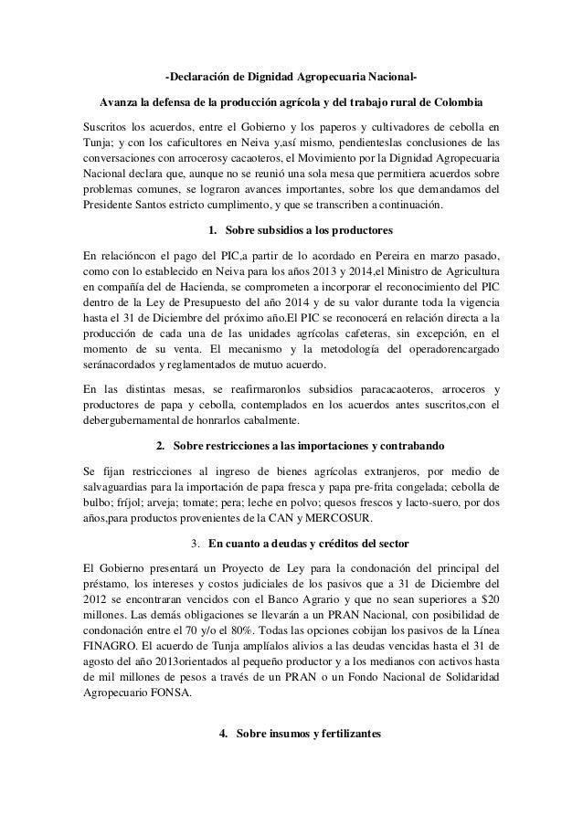 -Declaración de Dignidad Agropecuaria Nacional- Avanza la defensa de la producción agrícola y del trabajo rural de Colombi...
