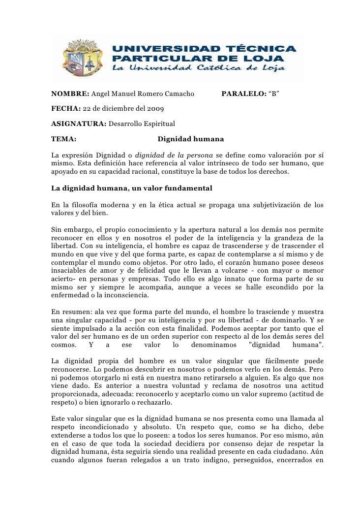 """NOMBRE: Angel Manuel Romero CamachoPARALELO: """"B""""<br />FECHA: 22 de diciembre del 2009<br />ASIGNATURA: Desarrollo Espiritu..."""
