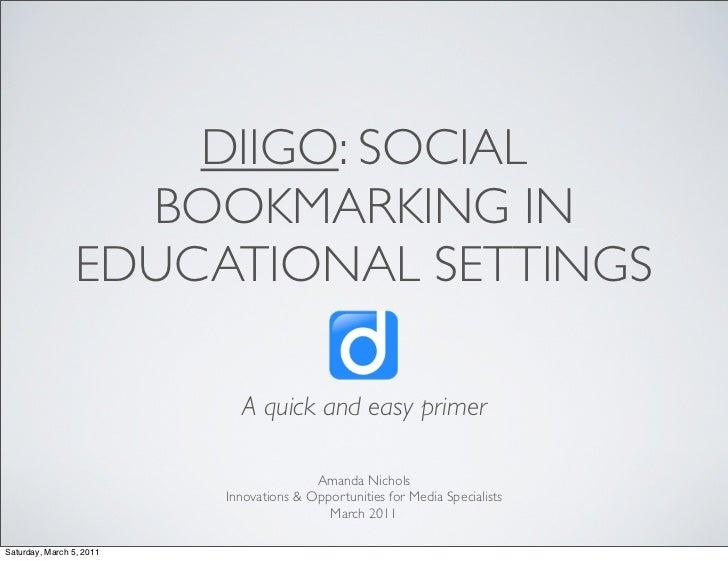 Diigo: Social Bookmarking in Educational Settings