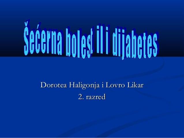 Dijabetes - Dorotea Haligonja i Lovro Likar