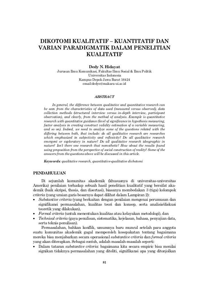 Dikotomi kualitatif – kuantitatif dan paradigmanya