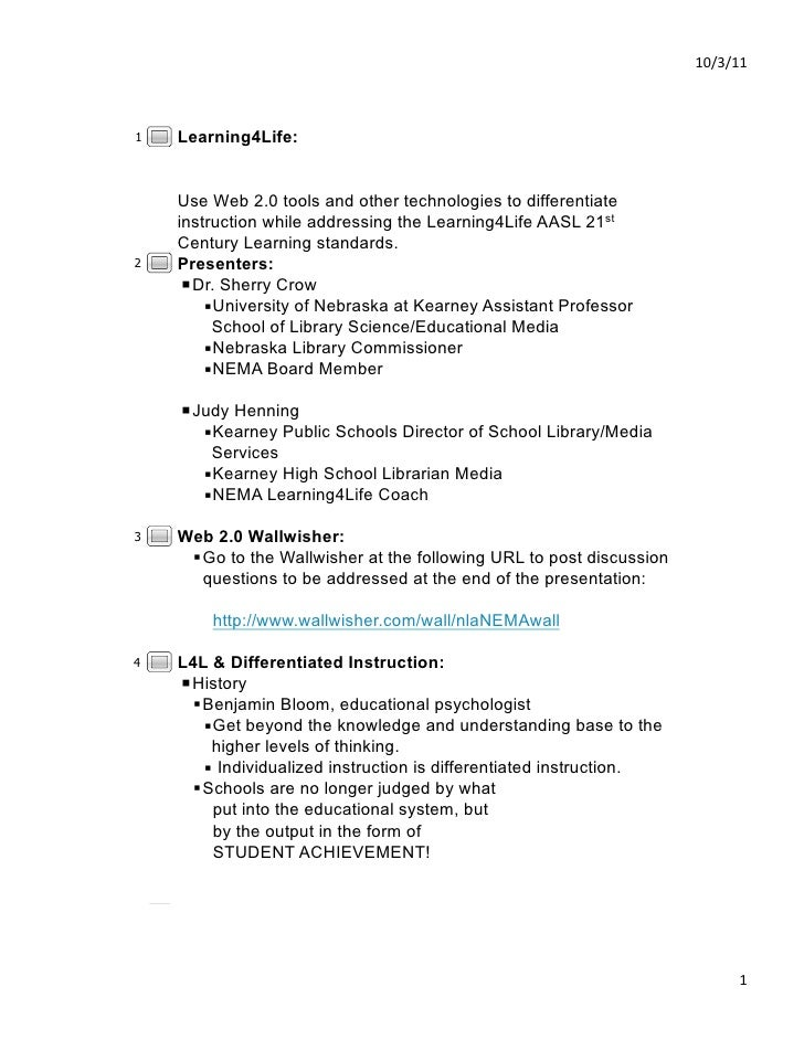 10/3/11 1   Learning4Life:    Use Web 2.0 tools and other technologies to differentiate    instruction while addressing ...