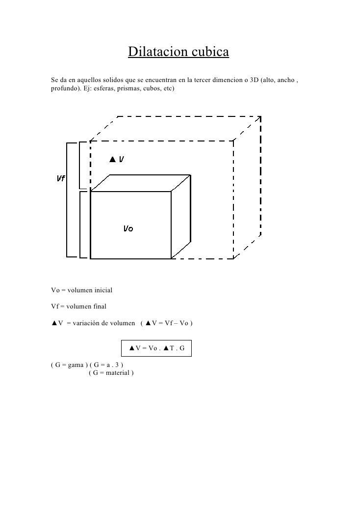 Dilatacion cubica Se da en aquellos solidos que se encuentran en la tercer dimencion o 3D (alto, ancho , profundo). Ej: es...