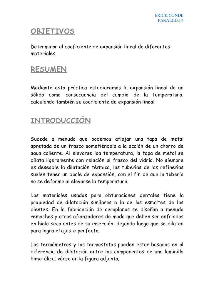 ERICK CONDE                                                      PARALELO 4  OBJETIVOS  Determinar el coeficiente de expan...