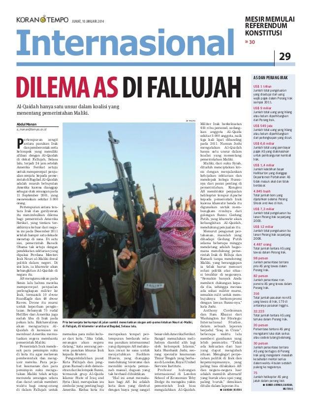 Dilema AS di Fallujah, Koran Tempo 10 Januari 2014