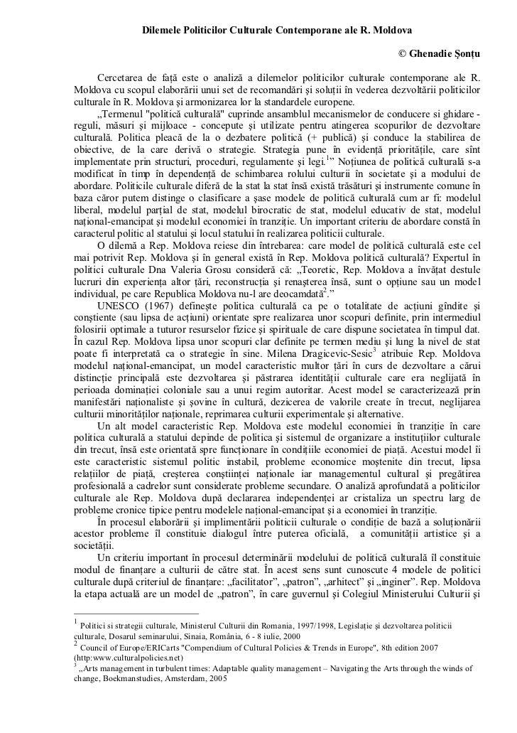Dilemele politicilor culturale contemporane ale Republicii Moldova