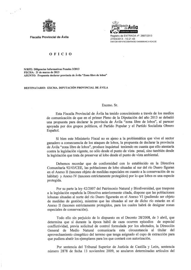 """Diligencia informativa penal por declaración Ávila """"zona libre de lobos"""""""