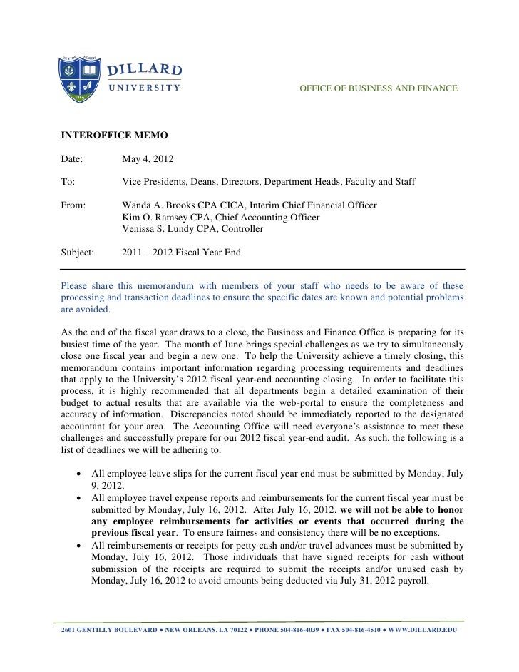 OFFICE OF BUSINESS AND FINANCEINTEROFFICE MEMODate:            May 4, 2012To:              Vice Presidents, Deans, Directo...