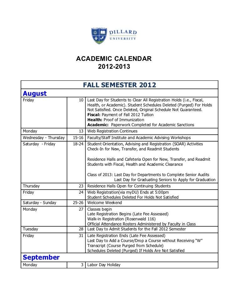 Dillard University Academic Calendar 2012-2013