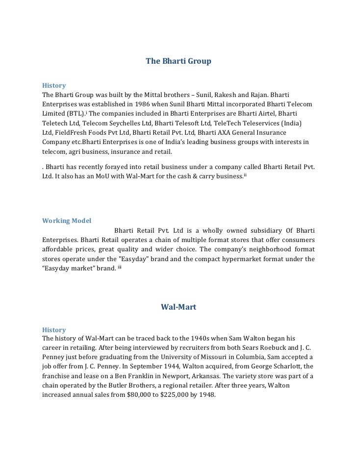 The Bharti Group<br />History<br />The Bharti Group was built by the Mittal brothers – Sunil, Rakesh and Rajan. Bharti Ent...