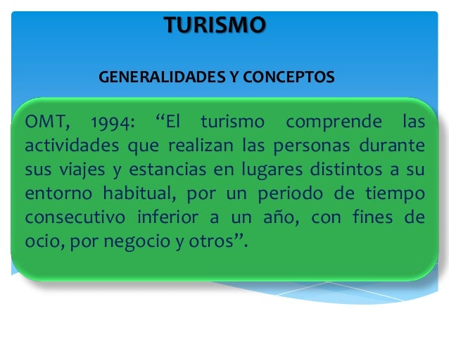 """TURISMO GENERALIDADES Y CONCEPTOS OMT, 1994: """"El turismo comprende las actividades que realizan las personas durante sus v..."""